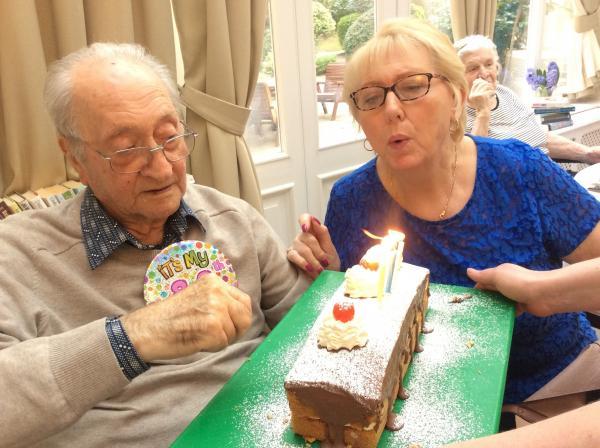 Resident Frantz with his relative Joan, celebrating his 88th Birthday