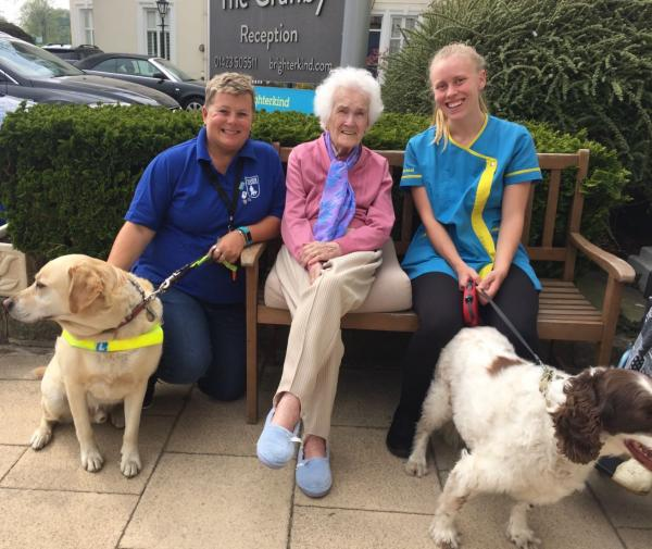 The Granby Care Home, Harrogate-Yuppie, Helen from Guide Dogs, Resident Olive, Carer Camille and Woody