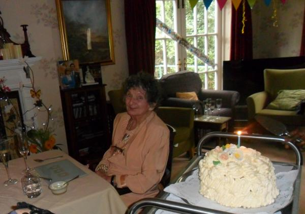 Joyce enjoying being back at The Lawns for her 90th Birthday celebrations