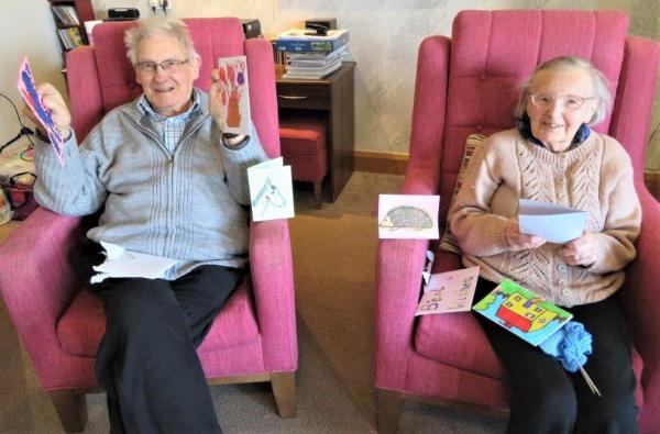 Westbury Court Care Home, Wiltshire-Arthur & Mary with some of the wonderful cards