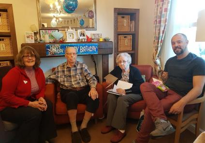 Peter and his family celebrating his 90th birthday
