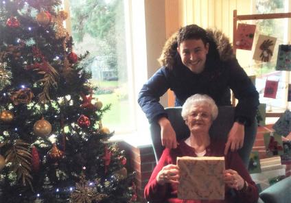 The Cedars Care Home, Bourne. Residents received amazing gifts from all of the community, delivered by Petorama by sleigh!