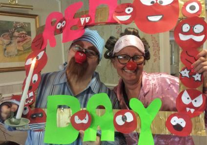 Highfields care home in Edingley celebrate Red Nose Day for Comic Relief