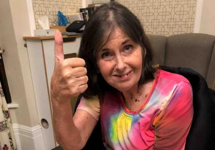 Hungerford Care Home in Berkshire. Residents enjoying a 'girls night in' sampling lovely Chinese food with a few drinks and music! Thumbs up from Christine for  the delicious Chinese meal