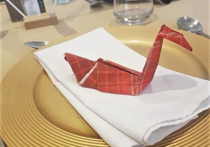 We decorated our home for the occasion complete with tartan swan serviettes for our feast!
