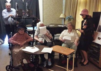 The Berkshire Care Home in Wokingham stepped back in time to solve the mystery in Hitchcock's thriller 39 Steps. Receptionist Rubina helps the residents solve the clues!