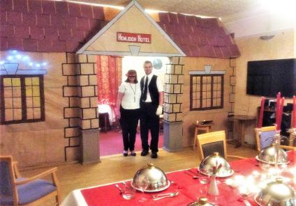 Henleigh Hall Care Home in Sheffield created a fantastic 'Henleigh Hall Hotel' murder mystery scene in the home. Jackie, head of housekeeping, and Wayne, maintenance, with the amazing set!