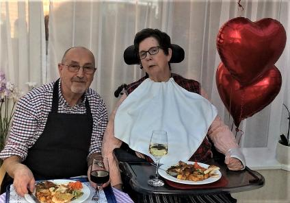 Albany Care Home, Oxfordshire. Allan with his wife Angela lunching together on Valentine's Day