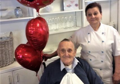 Albany Care Home, Oxfordshire. Resident Robin with Chef Zita preparing for our special Valentine's Day lunch
