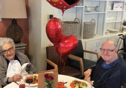 Albany Care Home, Oxfordshire. Residents Hazel and David enjoying our home's Valentine's Day lunch