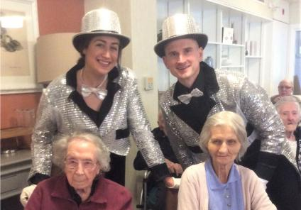 Albany Care Home, Oxfordshire-Residents Jean and Irene with the cast members