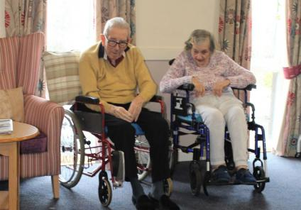 Ashbourne Court Care Home, Hampshire-Residents Edwin and Valerie enjoying our game of 'You Bowl Me Over'