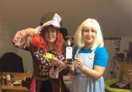 Activities Coordinators Laura and Beata as The Mad Hatter and Alice