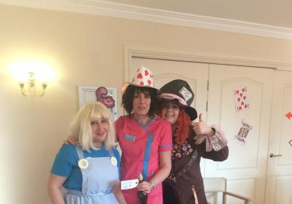 Team members Beata, Alison and Laura dressed up for the party