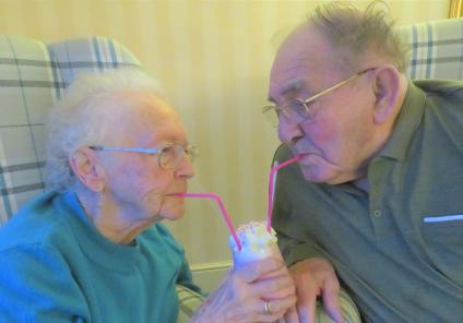 Avery Lodge Care Home, Lincolnshire. Our married residents Rose and Ron share a cocktail