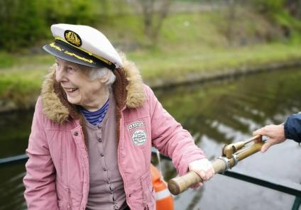 Avery Mews Care Home, West Yorkshire-Ahoy sailor! Resident Margaret goes a grand job of steering our barge along the canal