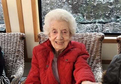 Avery Mews Care Home, West Yorkshire-All smiles for resident Eva as she enjoys her trip along the canals of West Yorkshire