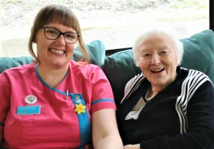Avery Mews Care Home, West Yorkshire-Magic Moments Club Coordinator Angela and resident Mamie having fun together on our barge trip
