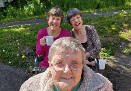 Avery Mews Care Home, West Yorkshire-Resident Barbara and family members Yvonne and Elaine stop for a nice cuppa