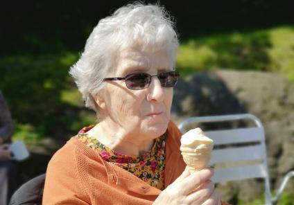 Avery Mews Care Home, West Yorkshire-Resident Beryl taking time out for an ice cream