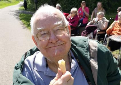 Avery Mews Care Home, West Yorkshire-Resident Bob cooling off with a well-deserved ice cream