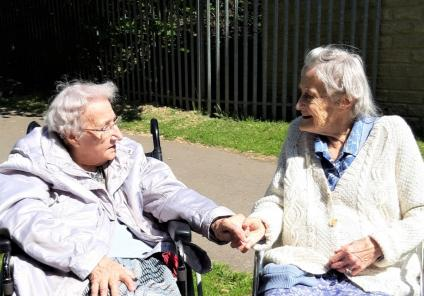 Avery Mews Care Home, West Yorkshire-Avery Mews-Residents Marie and Kathleen in the sunshine