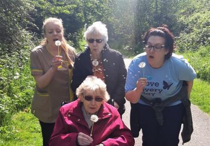 Avery Mews Care Home, West Yorkshire-Team member Georgie, resident Beryl, team member Chrissy and resident Doreen enjoying the countryside