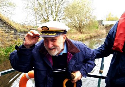 Avery Mews Care Home, West Yorkshire-Wearing the Captain's hat. Resident Donald takes his turn at the bridge