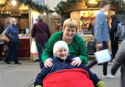 Albany Care Home, Oxfordshire. Resident Edna Lee with her Granddaughter enjoying our trip to Oxford Christmas Market