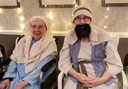 Avery Mews Care Home, West Yorkshire. The Avery Angels Nativity Concert, 18th December. Our Mary and Joseph, residents Audrey and Beryl