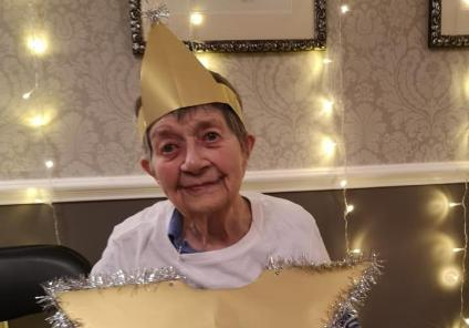 Avery Mews Care Home, West Yorkshire. The Avery Angels Nativity Concert, 18th December. Resident Marjorie the star