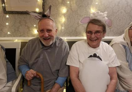 Avery Mews Care Home, West Yorkshire. The Avery Angels Nativity Concert, 18th December. Residents Donald the donkey and Ann the sheep