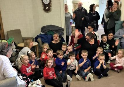 Bamfield Lodge Care Home, Bristol. The children from Whitchurch Nursery singing Christmas songs to us