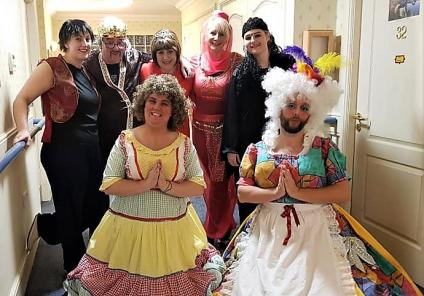 Broadway Halls Care Home, Dudley.  Our team members ready to perform their annual Christmas Pantomine, this year Aladdin brought the house down!
