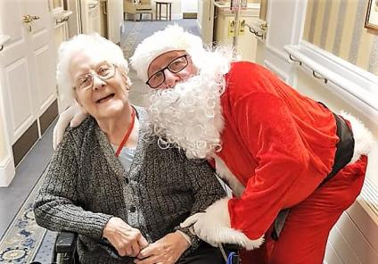 Broadway Halls Care Home, Dudley. Resident Maisie was delighted to receive a visit from Father Christmas