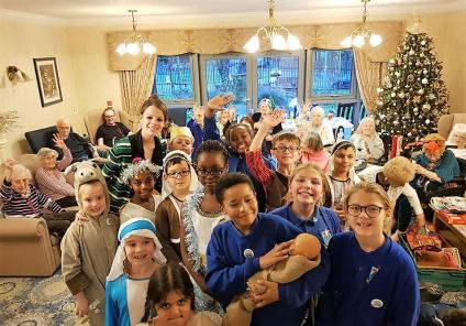 Broadway Halls Care Home, Dudley. Residents welcomed our friends from St. Joseph's Primary School to join us for festive fun