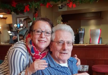 Ivybank House Care Home, Bath. Resident Albert Pike and team member Jane Swift enjoying our Christmas meal out
