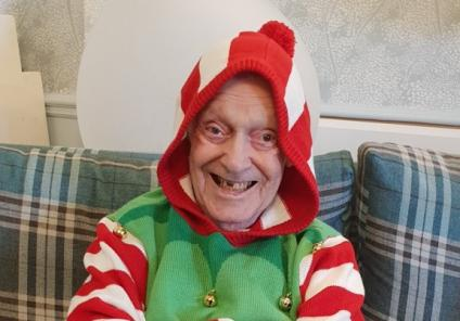 Ivybank House Care Home, Bath. Resident Harry Ashworth playing a naughty elf!