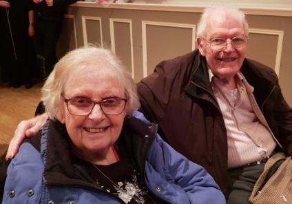 Ivybank House Care Home, Bath. Residents Margaret and Cliff Burrows enjoying our trip out to the theatre to see 'Peter and The Wolf'