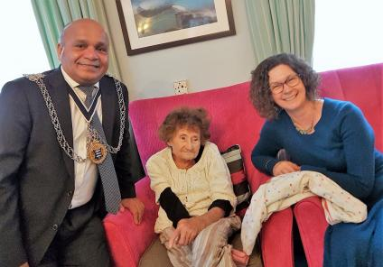 Kingston Care Home, Surrey. The Mayor of Kingston, Thay Thayalan joined us at our Christmas party on 8th December. Pictured here with resident Patricia Brown and her daughter