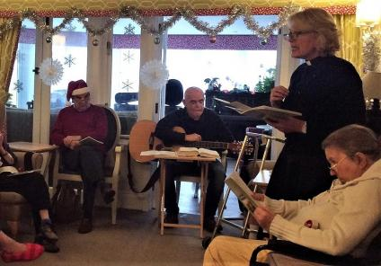 Mill House Care Home, Oxfordshire. 11th December, carols with our friends from the Methodist Church. Reverend Melanie narrated the traditional Christmas story