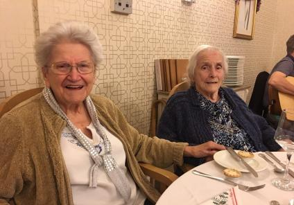 Ross Court Care Home, Herefordshire. Residents Pam and Barbara enjoying our Christmas party on 20th December