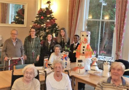 Springfield House Care Home, Staffordshire. On 11th December we were joined by pupils from Brewood Middle school for a snowman making competition