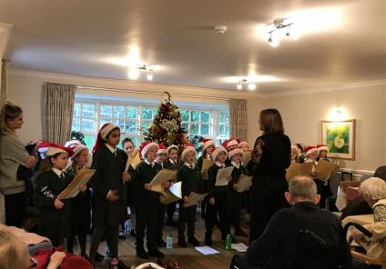 Springfield House Care Home, Staffordshire. The pupils from St. Nicholas Primary School came to sing carols to our residents on 13th December