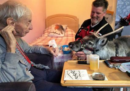 Tewkesbury Fields Care Home, Gloucestershire.  On 4th December we had a visit from 2 Reindeer. Here's resident Dennis Green meeting one of them who came to his bedroom