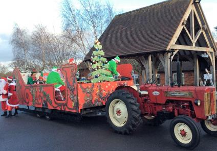 Tewkesbury Fields Care Home, Gloucestershire. A Christmas visit from our friends at our local Twyning Inn who arrived on a tractor pulled sleigh!