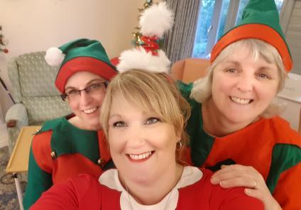 The Cedars Care Home, Salisbury. Team members Jo, Emma and Lynn spreading lots of Christmas cheer