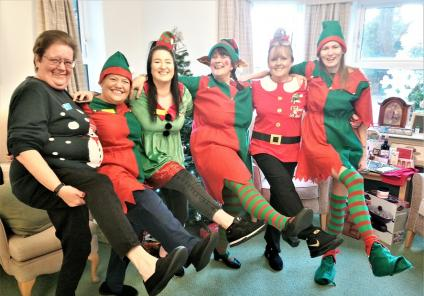The Wimbourne Care Home, Dorset. Team members Clare Robbins, Dawn Sanneh, Tara Hankinson, Natasha Andrews, Gemma Stiles and Mandy Kanyi ready to sprinkle their festive cheer all around our home