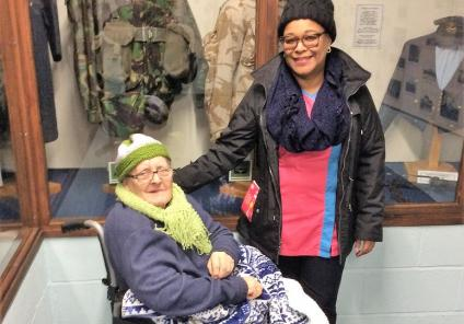 Resident Joyce and Magic Moments Club Coordinator Rose exploring the museum