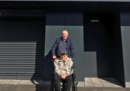 Broadway Halls Care Home, Dudley-Resident Cyril and his son Paul outside West Bromwich Albion's ground, The Hawthorns